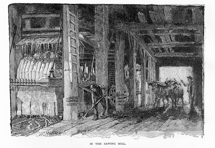 1890 Illustratation of Gang Saw Sawing Marble in Vermont