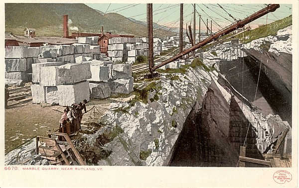 1906 Postcard view of Marble Quarry in Rutland VT